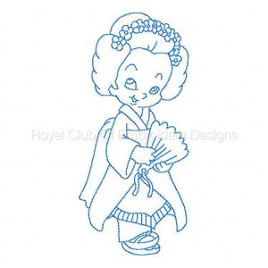 Royal Club Of Embroidery Designs - Machine Embroidery Patterns BW Geisha Children Set