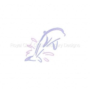 Royal Club Of Embroidery Designs - Machine Embroidery Patterns Dolphins Line Work Set