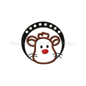 Royal Club Of Embroidery Designs - Machine Embroidery Patterns Applique Animal Faces Circles Set
