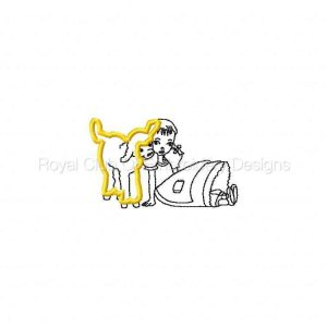 Royal Club Of Embroidery Designs - Machine Embroidery Patterns Appliqued Girl with Lamb Set