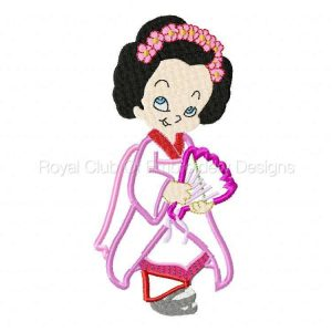 Royal Club Of Embroidery Designs - Machine Embroidery Patterns Applique Geishas Set