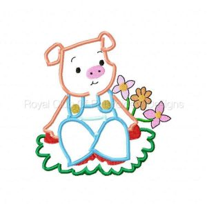 Royal Club Of Embroidery Designs - Machine Embroidery Patterns Applique Pigs Set
