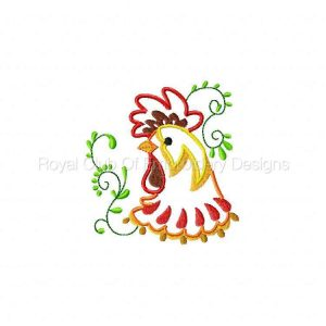 Royal Club Of Embroidery Designs - Machine Embroidery Patterns Applique Roosters Set
