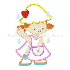 Royal Club Of Embroidery Designs - Machine Embroidery Patterns Applique Rainy Day Kids Set