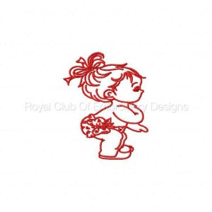 Royal Club Of Embroidery Designs - Machine Embroidery Patterns Beautiful Redwork Baby Girls Set