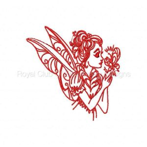 Royal Club Of Embroidery Designs - Machine Embroidery Patterns Beautiful Redwork Fairies Set