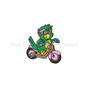 Royal Club Of Embroidery Designs - Machine Embroidery Patterns Biker Parrots Set
