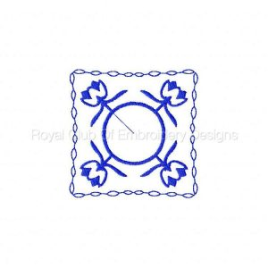 Royal Club Of Embroidery Designs - Machine Embroidery Patterns Blue Line Art Floral Blocks Set