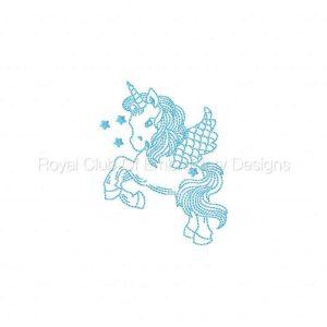 Royal Club Of Embroidery Designs - Machine Embroidery Patterns BW Unicorns Set