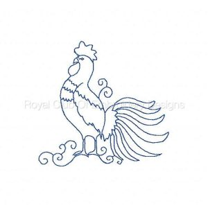 Royal Club Of Embroidery Designs - Machine Embroidery Patterns Bluework Roosters Set