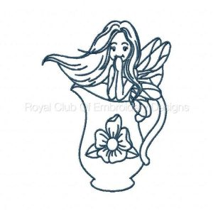 Royal Club Of Embroidery Designs - Machine Embroidery Patterns Bluework Teaset Fairies Set