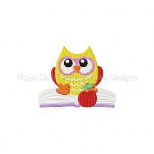 Royal Club Of Embroidery Designs - Machine Embroidery Patterns Back to School Owls Set