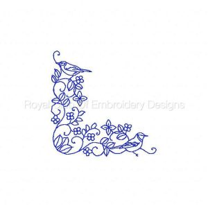 Royal Club Of Embroidery Designs - Machine Embroidery Patterns BW Bird Corners Set