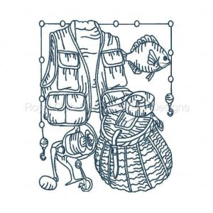 Royal Club Of Embroidery Designs - Machine Embroidery Patterns Bluework Fishing Blocks Set