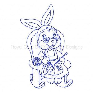 Royal Club Of Embroidery Designs - Machine Embroidery Patterns Bluework Granny Bunny Sewing Set