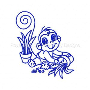 Royal Club Of Embroidery Designs - Machine Embroidery Patterns Monkey Trouble Bluework Set