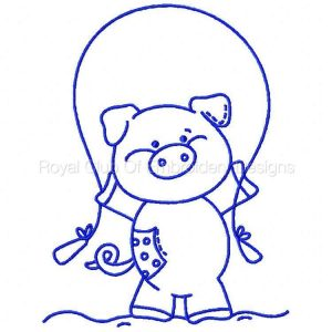 Royal Club Of Embroidery Designs - Machine Embroidery Patterns Bluework Patchy Piggy Set
