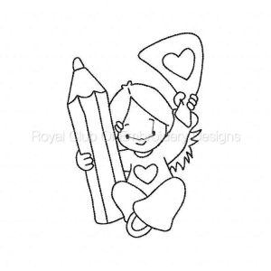 Royal Club Of Embroidery Designs - Machine Embroidery Patterns BW Schooltime Kids Set