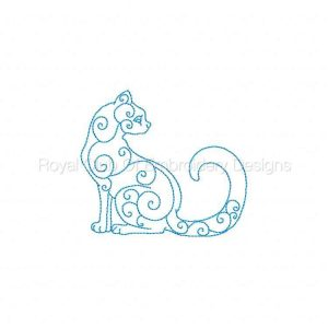 Royal Club Of Embroidery Designs - Machine Embroidery Patterns Curly Kitten Line Art Set