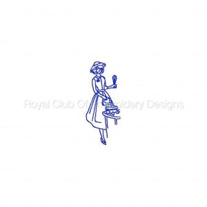 Royal Club Of Embroidery Designs - Machine Embroidery Patterns 50s Ladies Redwork Set