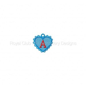 Royal Club Of Embroidery Designs - Machine Embroidery Patterns FSL Heart Alphabet Charms Set