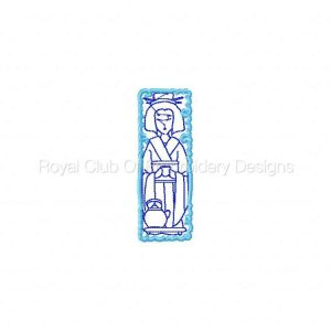 Royal Club Of Embroidery Designs - Machine Embroidery Patterns Geisha Bookmarks Set