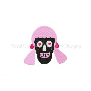 Royal Club Of Embroidery Designs - Machine Embroidery Patterns Girly Skulls Set