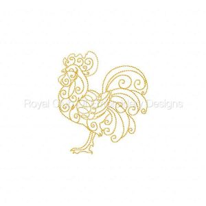 Royal Club Of Embroidery Designs - Machine Embroidery Patterns Golden Hens and Roosters Set