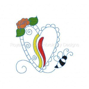 Royal Club Of Embroidery Designs - Machine Embroidery Patterns Partially Filled Hearts and Bugs Set