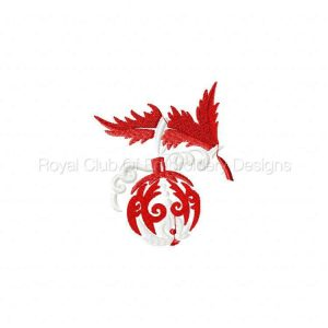 Royal Club Of Embroidery Designs - Machine Embroidery Patterns Red and White Christmas Decorations Set
