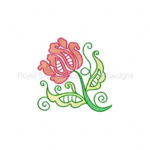 Royal Club Of Embroidery Designs - Machine Embroidery Patterns Jacobean Lace Flowers Set