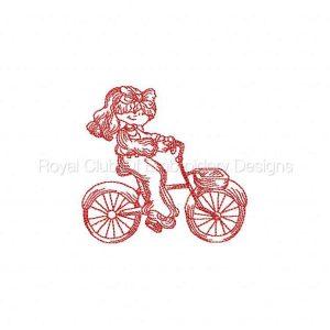 Royal Club Of Embroidery Designs - Machine Embroidery Patterns JN Bonnet Girl Bike Set