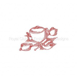 Royal Club Of Embroidery Designs - Machine Embroidery Patterns JN Tea Cups Set