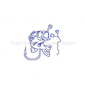 Royal Club Of Embroidery Designs - Machine Embroidery Patterns Line Art Fishing Time Set