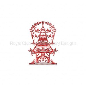 Royal Club Of Embroidery Designs - Machine Embroidery Patterns Line Art Oriental Houses Set