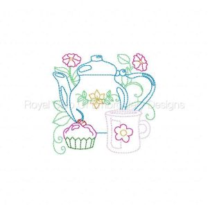 Royal Club Of Embroidery Designs - Machine Embroidery Patterns Line Art Tea Pots Set