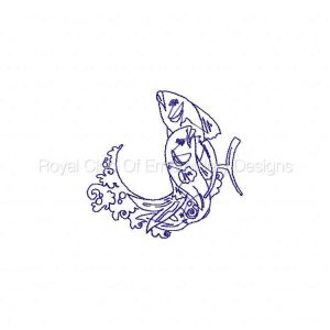 Royal Club Of Embroidery Designs - Machine Embroidery Patterns Lineart Zodiac Set