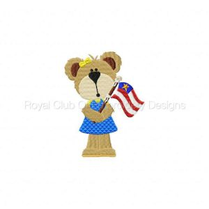 Royal Club Of Embroidery Designs - Machine Embroidery Patterns Memorial Day Bears Set