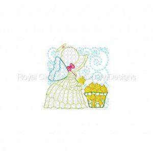 Royal Club Of Embroidery Designs - Machine Embroidery Patterns Mylar Sunbonnet Angel Blocks Set