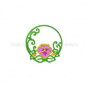 Royal Club Of Embroidery Designs - Machine Embroidery Patterns Pansies Circles Set