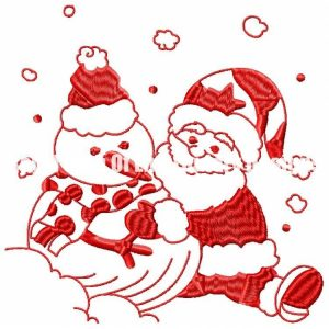 Royal Club Of Embroidery Designs - Machine Embroidery Patterns Red-work Snowman