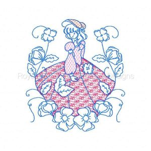 Royal Club Of Embroidery Designs - Machine Embroidery Patterns Redwork Flower Ladies Set