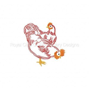 Royal Club Of Embroidery Designs - Machine Embroidery Patterns RW Hens Set