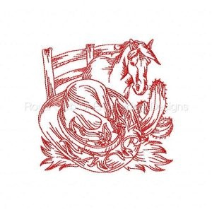 Royal Club Of Embroidery Designs - Machine Embroidery Patterns RedWork Western Set
