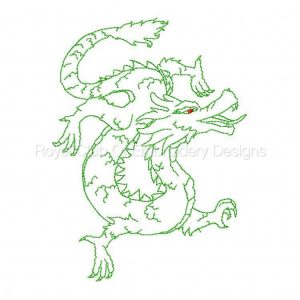Royal Club Of Embroidery Designs - Machine Embroidery Patterns Redwork Year of the Dragon Set
