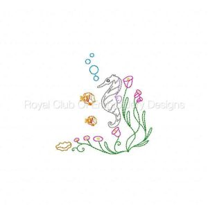 Royal Club Of Embroidery Designs - Machine Embroidery Patterns Seahorse Colorwork Set
