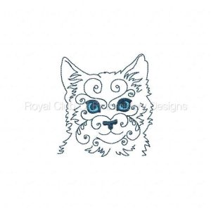 Royal Club Of Embroidery Designs - Machine Embroidery Patterns Swirly Cat Faces Set