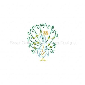 Royal Club Of Embroidery Designs - Machine Embroidery Patterns Swirly Floral Peacocks Set