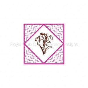 Royal Club Of Embroidery Designs - Machine Embroidery Patterns Vintage Floral Quilt Blocks 1 Set