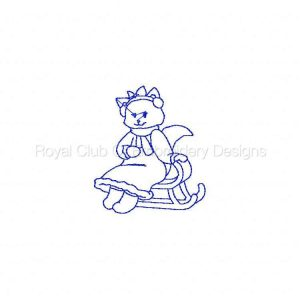 Royal Club Of Embroidery Designs - Machine Embroidery Patterns Winter Time Kitties Redwork Set